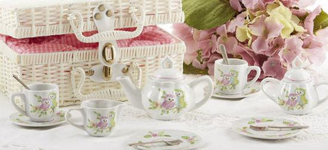Pastel Owls Childrens Porcelain Tea Set in Wicker Style Basket - FREE Tea Included!-Roses And Teacups