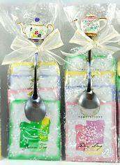 Pastel Teapot Spoon & Tea Bag Favors - Roses And Teacups