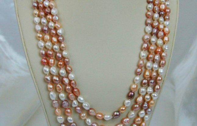 Peach Pastels Freshwater Pearl Necklace PN077 - Roses And Teacups