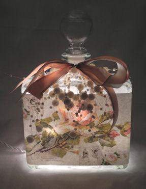 Peach Rose Collage Perfume Bottle Nightlight ( Night Light )-Roses And Teacups