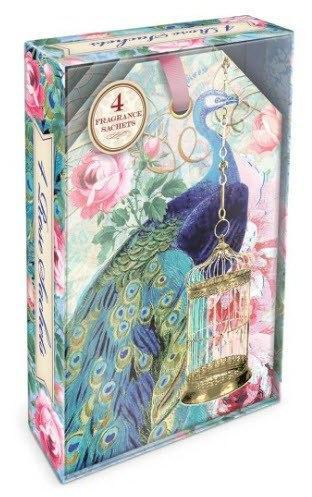 Peacock Boxed Scented Sachets Set of 4 - Roses And Teacups