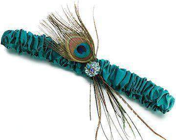 Peacock Feather Garter - Roses And Teacups