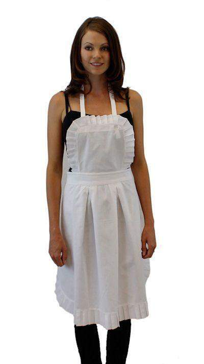 Perfectly Pleated White Cotton Apron - Roses And Teacups