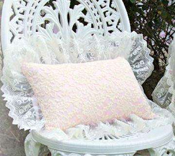 Pink and Creme Everyday Victorian Lace Pillow - Roses And Teacups