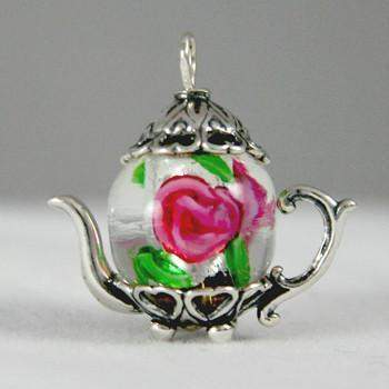 Pink and Green  Chinese Lampwork  Medium Silver Teapot Charm - Roses And Teacups