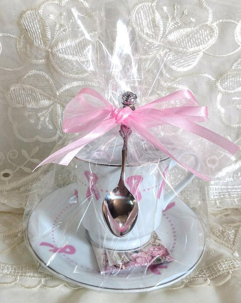 Pink Awareness Ribbon Teacup (Tea Cup) Favor - Limited Supply - Roses And Teacups