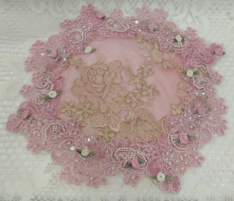Pink Beaded Gold Thread Lace Doily-Roses And Teacups