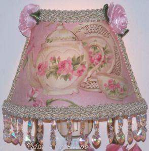 Pink Beaded Teapot Nightlight-Roses And Teacups