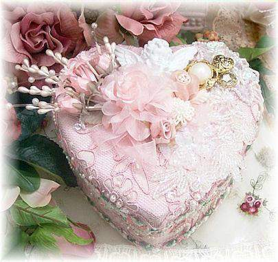 Pink Cherub Beaded 7-inch Heart Box - Roses And Teacups