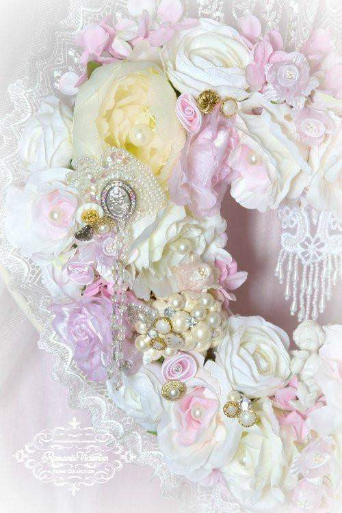 Pink Cherub Heart Wreath - Roses And Teacups