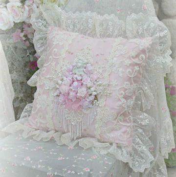 Pink Cherub Square Pillow - Roses And Teacups