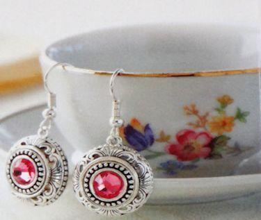 Pink Crystal  Lotti Dottie Interchangeable Filigree Earrings - Only 1 Available! - Roses And Teacups