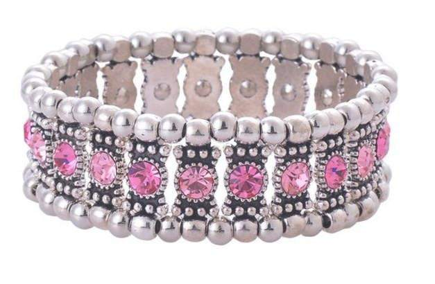 Pink Crystal Stretch Bracelet - Roses And Teacups