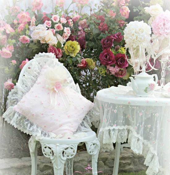 Pink Everyday Romance Pillow - Roses And Teacups