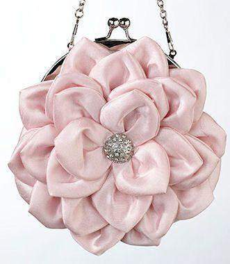 Pink Flower Purse with detachable Chain - Roses And Teacups