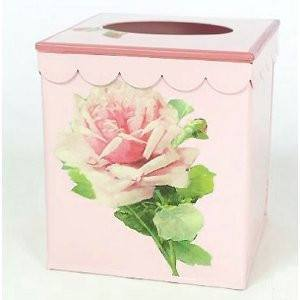 "Pink French Vintage Look Tissue Holder 7""x 6"" x 6"" - Roses And Teacups"