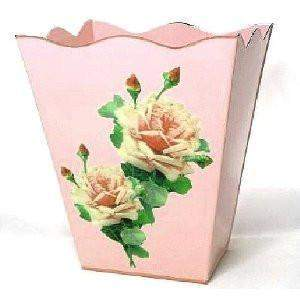 "Pink French Vintage Look Wastebasket 12"" x10"" x10"" - Roses And Teacups"