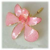 Pink Orchid Pin with 24k Gold - Roses And Teacups
