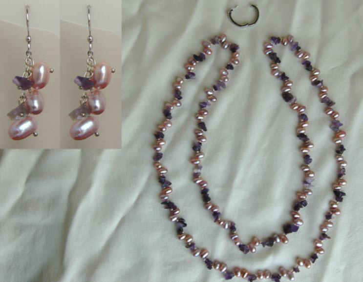 Pink Pearl and Amethyst Necklace and Earrings F009 - Roses And Teacups