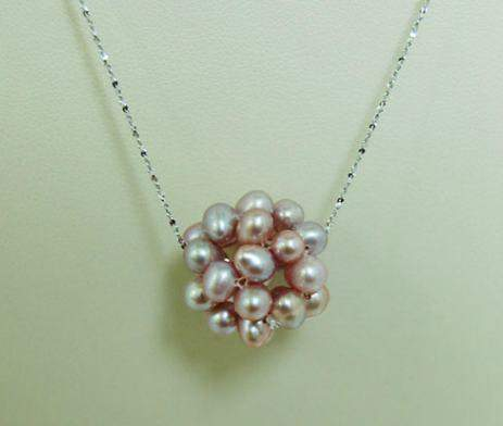 Pink Pearl Cluster Necklace P047 - Roses And Teacups