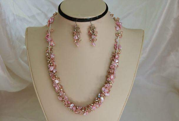 Pink Pearl Necklace and Earring Set F125 - Roses And Teacups