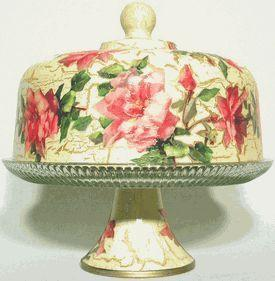 Pink Rose Glass Domed Pedestal Cake Stand - Roses And Teacups