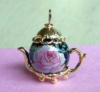 Pink Rose on Black Gold Vermeille Teapot Charm - Roses And Teacups