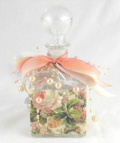 Pink Roses Perfume Bottle Nightlight ( Night Light ) - Roses And Teacups