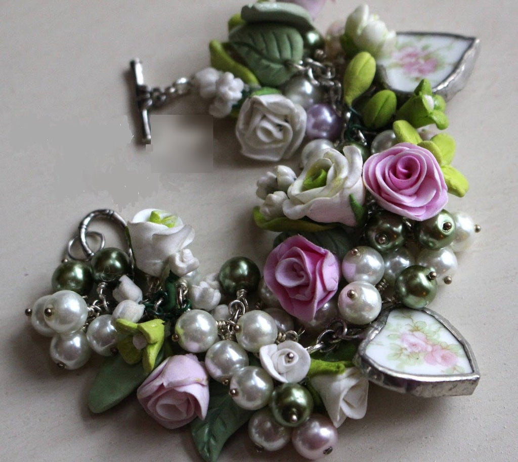 Pink Roses with Green Floral and Pearls Broken China Hearts Bracelet - Roses And Teacups