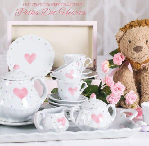Polka Dot Heart 18pc Children's Porcelain Tea Set - Roses And Teacups