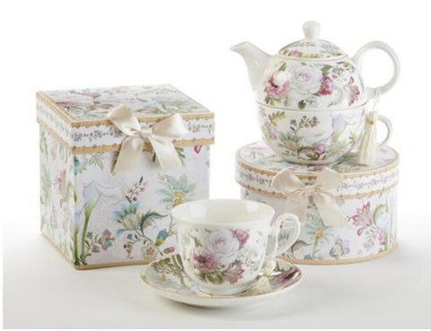 Porcelain Gift Boxed Tea For One - Pale Rose - Roses And Teacups