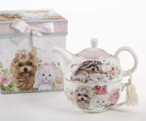 Porcelain Gift Boxed Tea For One - Puppies and Kittens - Roses And Teacups