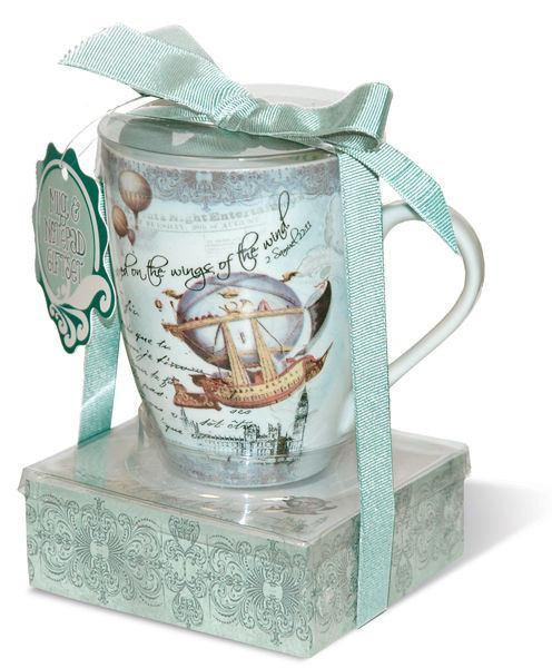 Porcelain Mug Notepad Gift Set Vintage Hot Air Balloon - Roses And Teacups