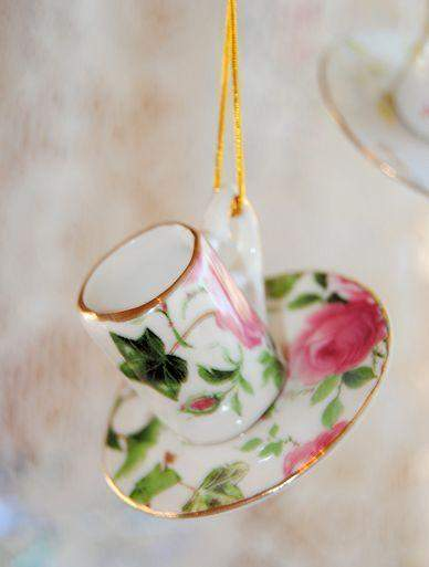 Porcelain Tea Cup Teacup Ornaments 12 Assorted Floral Chintz - Roses And Teacups