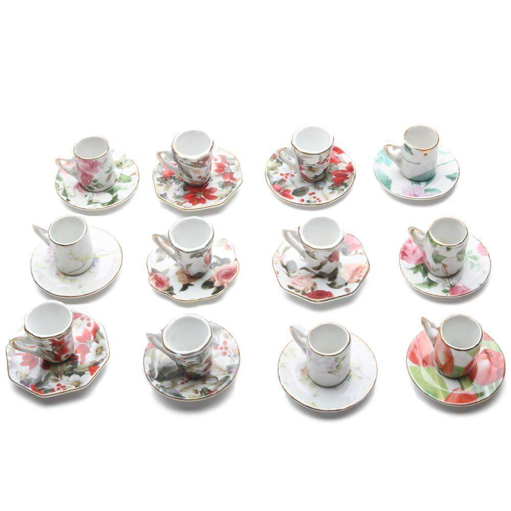 Porcelain Tea Cup Teacup Ornaments 12 Assorted Floral Chintz – Roses ...