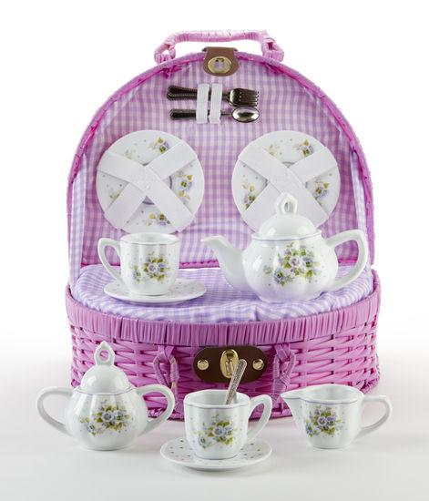 Pretty Pansies Childrens Porcelain Tea Set in Wicker Style Basket - FREE Tea Included! - Roses And Teacups