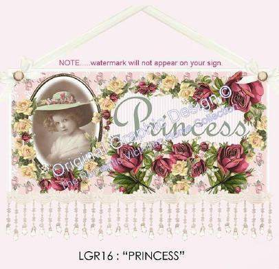 Princess 16 x 10  Wall Hanging - Only 1 Left! - Roses And Teacups