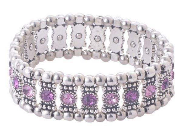 Purple Crystal Stretch Bracelet - Roses And Teacups