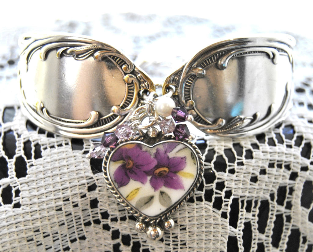 Purple Fantasy Silver Spoon Bracelet with China Charm - Roses And Teacups