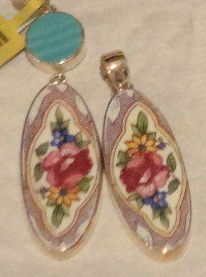 Purple Floral Sterling and China Pendants  With / Without Aqua Fiesta Ware - Roses And Teacups