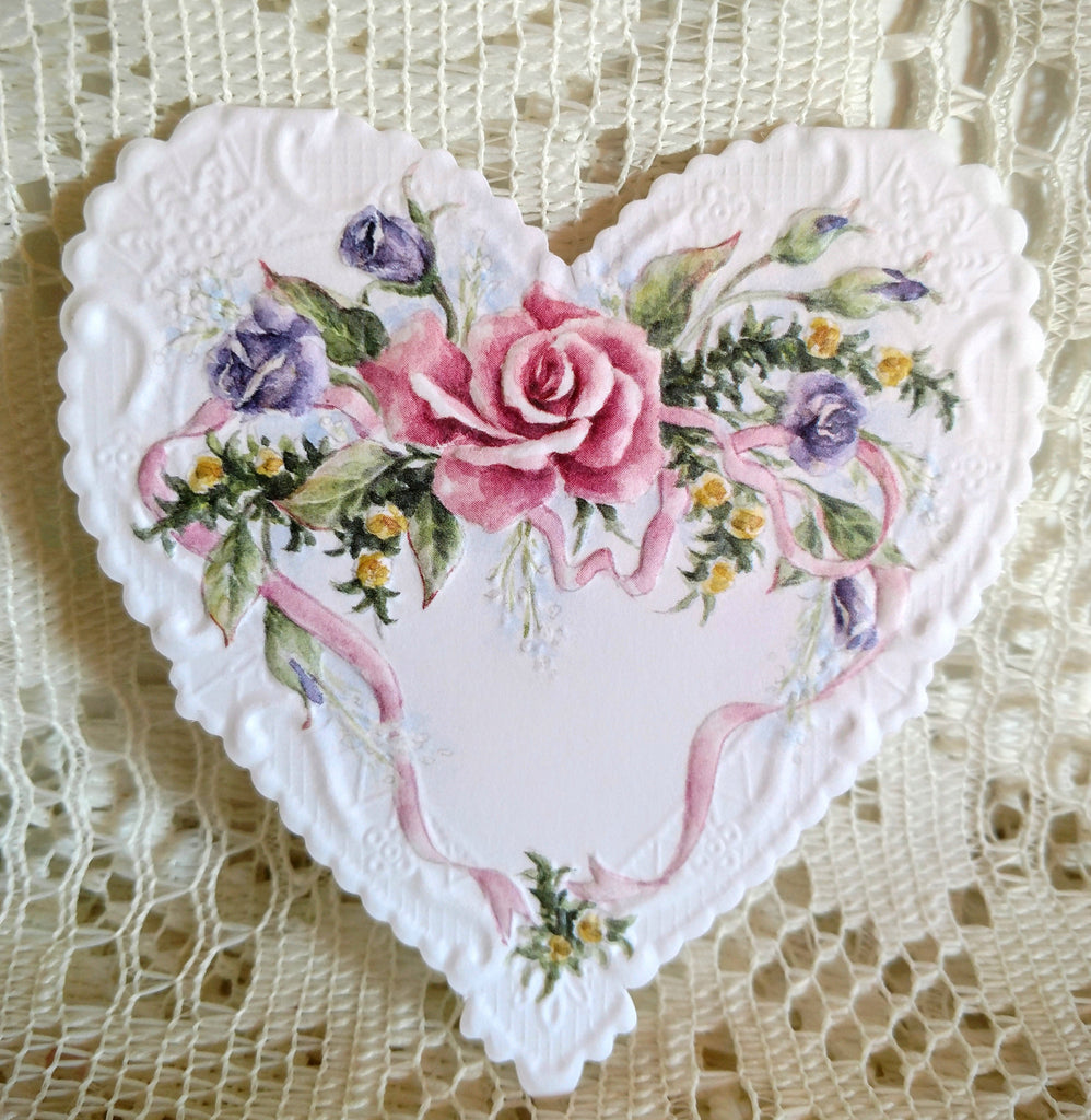 Rare Original Carol Wilson Rose Ribbon Heart Embossed Card-Roses And Teacups