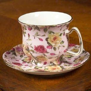 Rare Pink Newport Rose Chintz Porcelain Teacup and Saucer - Only 1 Available! - Roses And Teacups