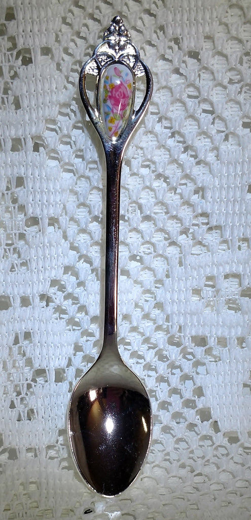 Rare Silver Royal Flourish Porcelain Inlay Spoon - Very Limited! - Roses And Teacups