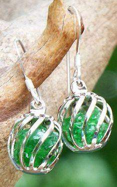 Reclaimed Glass Emerald Cage Earrings - Roses And Teacups