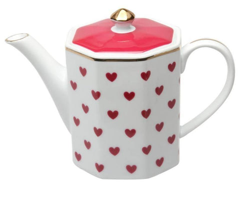 Red Heart Porcelain Teapot - Roses And Teacups