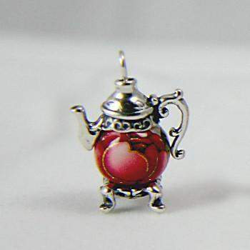 Red Rose Bead Silver Teapot Earrings-Roses And Teacups