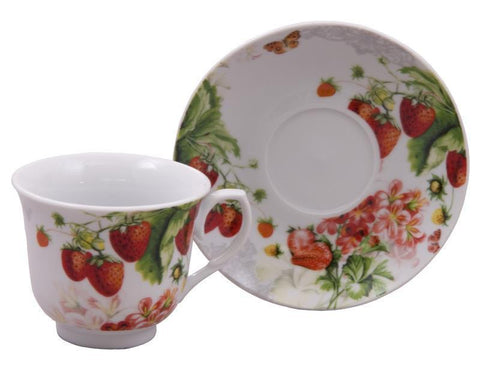 Red Strawberry Discount Tea Cups and Saucers Case of 24 Cheap Priced for Events-Roses And Teacups