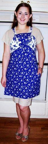 Reversibly Romantic Blue and White Brambles Apron - Only 1 Available!-Roses And Teacups