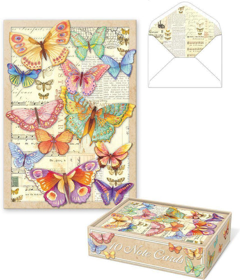 Romantic Die Cut Boxed Cards - Bright Butterflies - Roses And Teacups