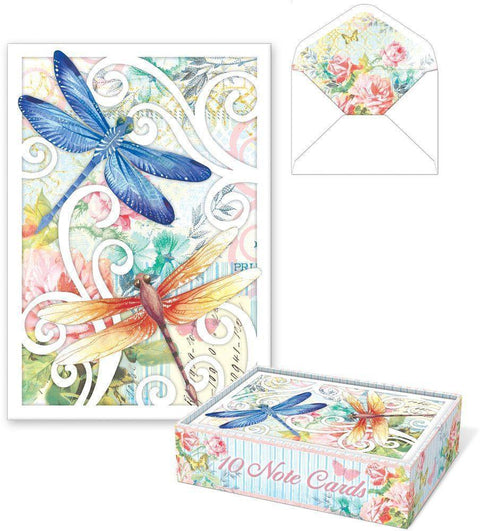 Romantic Die Cut Boxed Cards - Dragonflies - Roses And Teacups
